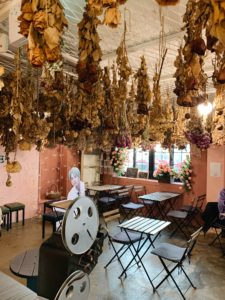 Flowers hanging from the ceiling in cafef